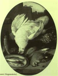 stilleben mit totem hahn und singvögel by leopold de cauwer