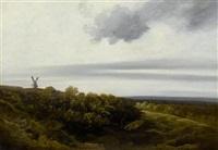 weite landschaft mit windmühle by georges michel