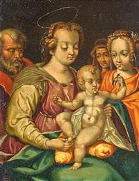 die heilige familie mit maria magdalena und anna. das jesuskind hält einen faden in den händen, an dessen ende ein kleiner goldfink festgebunden ist by vincent sellaer