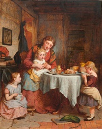 mutter mit drei kindern am tisch by george smith