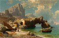 bucht bei capri mit fischern und ihren booten by carl jungheim