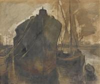 hafenpartie mit schiffen by walter krebs