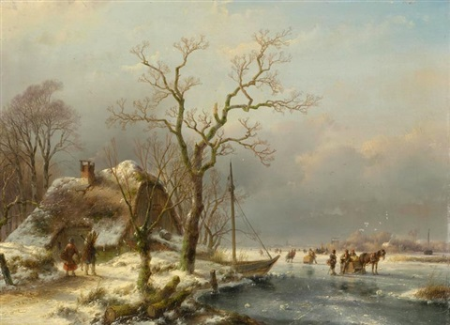 winterliche seelandschaft mit reisigsammlern by andreas schelfhout