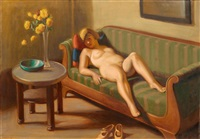 nu dans un canapé (+ nu, verso) by georg scholz