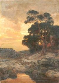 baumbestandene landschaft im abendrot by konrad ludwig lessing