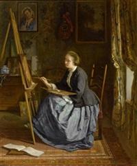 portrait der malenden madame leleux by armand leleux