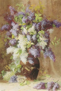 still life with lilacs and a bird's nest by william hubacek
