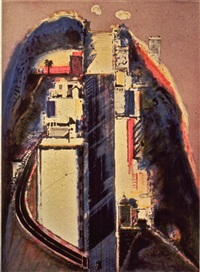 steep street, color by wayne thiebaud