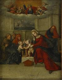 madonnan med barnet och sankt anna by benvenuto tisi da garofalo