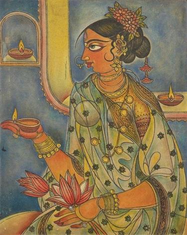 inderin mit lotosblüten by abdulrahim apabhai almelkar