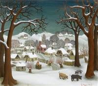 winter in hlebine by ivan generalic