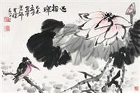 迎朝晖 镜心 设色纸本 by li kuchan