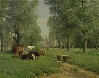 wiese mit kühen und einer kirche im hintergrund by carl röder