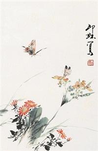 花蝶图 镜心 设色纸本 by xiao lang