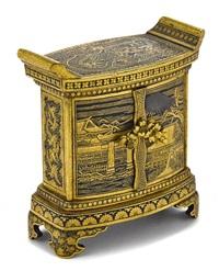 a miniature damascened kodansu by komai (co.)