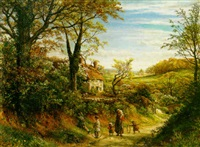 an extensive country landscape with a mother and her children on a path in the foreground by thomas george linnell
