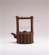 sixteen bamboo shaped teapot with overhead handle by ji yishun