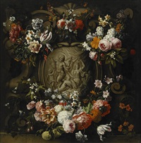 cartouche with garland of flowers by gaspar peeter verbrüggen i and frans ykens