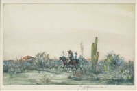 trail to mexico (+ 4 others, 2 color etchings and aquatints; 5 works) by henry ziegler
