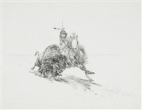 herding wild horses (+ 2 others, 1930-31 & 1932; 3 works) by henry ziegler