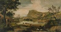 klassicerande landskap med herde och getter by paolo anesi