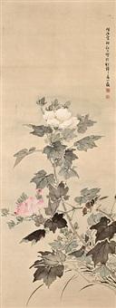 peonies and sparrow by noguchi shohin