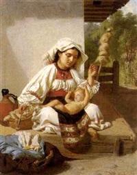 junge frau in ungarischer tracht mit spindel und kleinkind by vinzenz melka