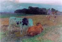 landschaft mit weidenden kühen by franz gustav hochmann
