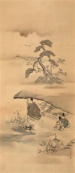 scene from the tale of genji by morizumi tsurana