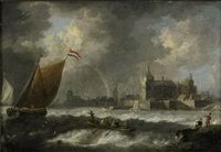 kustlandskap med segelfartyg och antwerpen i fonden by jan peeters the elder