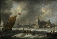 kustlandskap med segelfartyg och antwerpen i fonden by jan peeters the elder