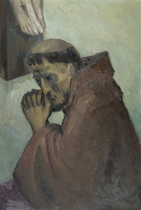 franciscan monk in prayer by simone denechaud