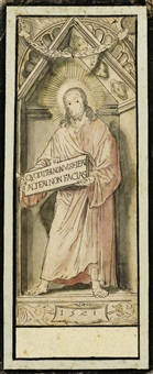 christus in der gibel-nische. (design for a mural in basel city hall) by hans holbein the younger