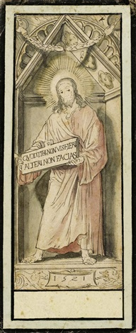 christus in der gibel nische design for a mural in basel city hall by hans holbein the younger