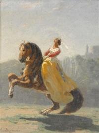 reiterin in gelbem kleid mit pferd by auguste viande
