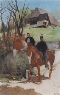 dragoner zu pferd in vorfrühlingslandschaft by theodor volmar