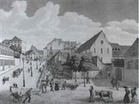 basel (marktszene bei der blomleinkaserne im ehemaligen   kloster st. maria magdalena am steinenberg) by johann jakob schneider