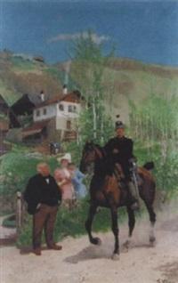 dragoner zu pferd in sommerlicher landschaft by theodor volmar