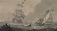 several sailing vessels and a sloop on a choppy sea by johannes christiaan schotel
