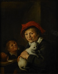 boy and cat by jan miense molenaer