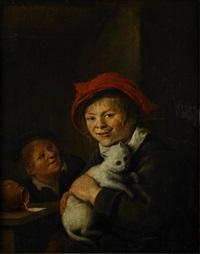 boy and cat by jan miense molenaer