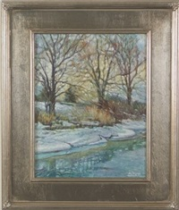 snow by the stream by dot bunn