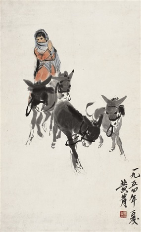 牧驴图 girl herding donkeys by huang zhou