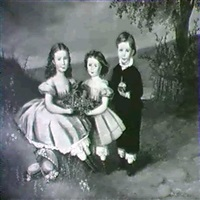 family portraits: three children in a landscape by t. thams