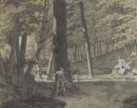 waldlandschaft mit badender, von einem jüngling heimlich beobachtet by anna füssli
