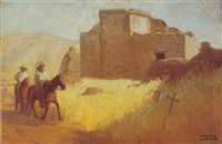 riders near a pueblo by charles percy austin