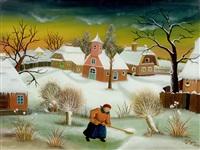landschaft mit dorf im winter by ivan generalic
