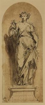 allegorical lady standing on a socle by jacob de wit