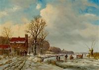 landschaft mit gefrorenem fluss by arnoldus johannes eymer