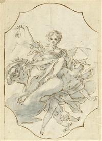 auf wolken schwebende sibyllen und putti (dbl-sided study) by antonio consetti